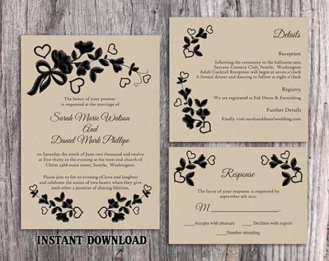 Rustic Wedding Invites Templates Inspirational Diy Lace Wedding Invitation Template Set Editable Word