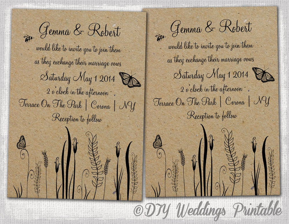 Rustic Wedding Invites Templates New Rustic Wedding Invitations Template Editable butterfly