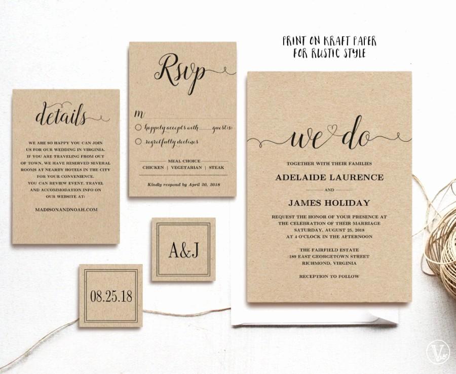 Rustic Wedding Invites Templates Unique Rustic Wedding Invitation Template 5 Piece Printable