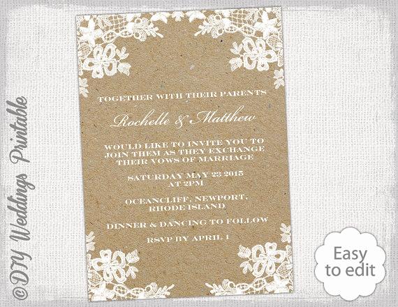 """Rustic Wedding Invites Templates Unique Rustic Wedding Invitation Template Diy """"rustic Lace"""