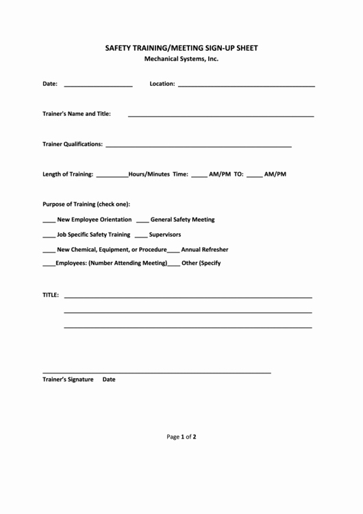 Safety Meeting Sign In Sheet Awesome 22 Meeting Sign In Sheets Free to In Pdf