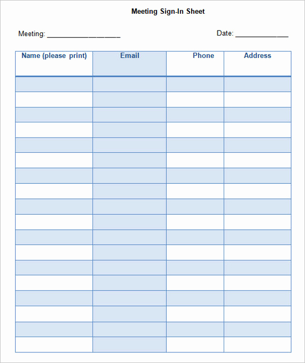 Safety Meeting Sign In Sheet Best Of 67 Sign In Sheet Templates Free Pdf Excel Documents