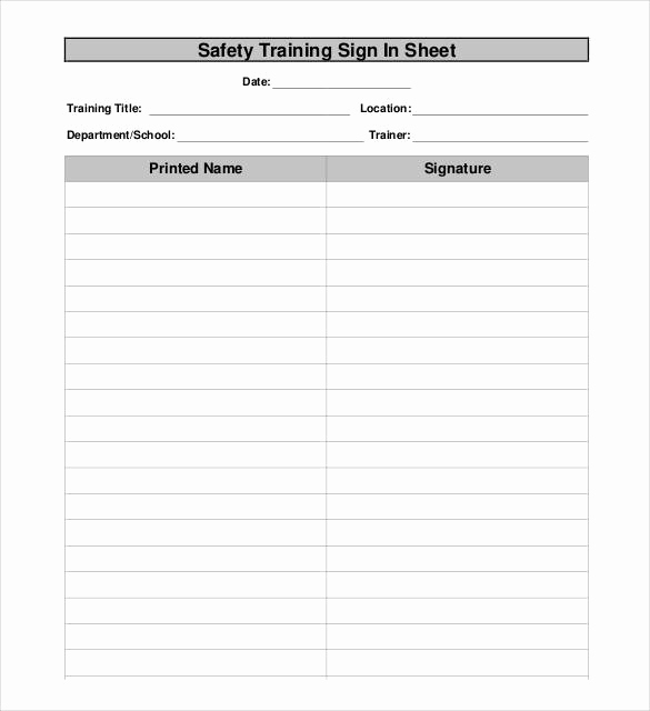 Safety Meeting Sign In Sheet Fresh 75 Sign In Sheet Templates Doc Pdf