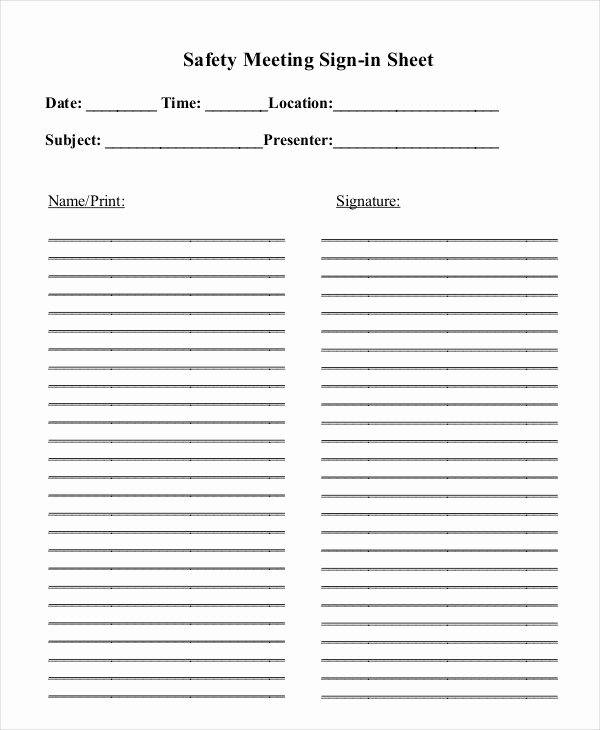 Safety Meeting Sign In Sheet Luxury Sign In Sheet Template 12 Free Wrd Excel Pdf