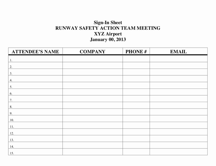 Safety Meeting Sign In Sheet Unique Printable Sign In Sheet In Word and Pdf formats