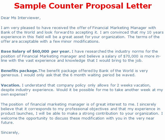 Salary Counter Offer Letter Beautiful Business Proposal Letter Counter Proposal Letter