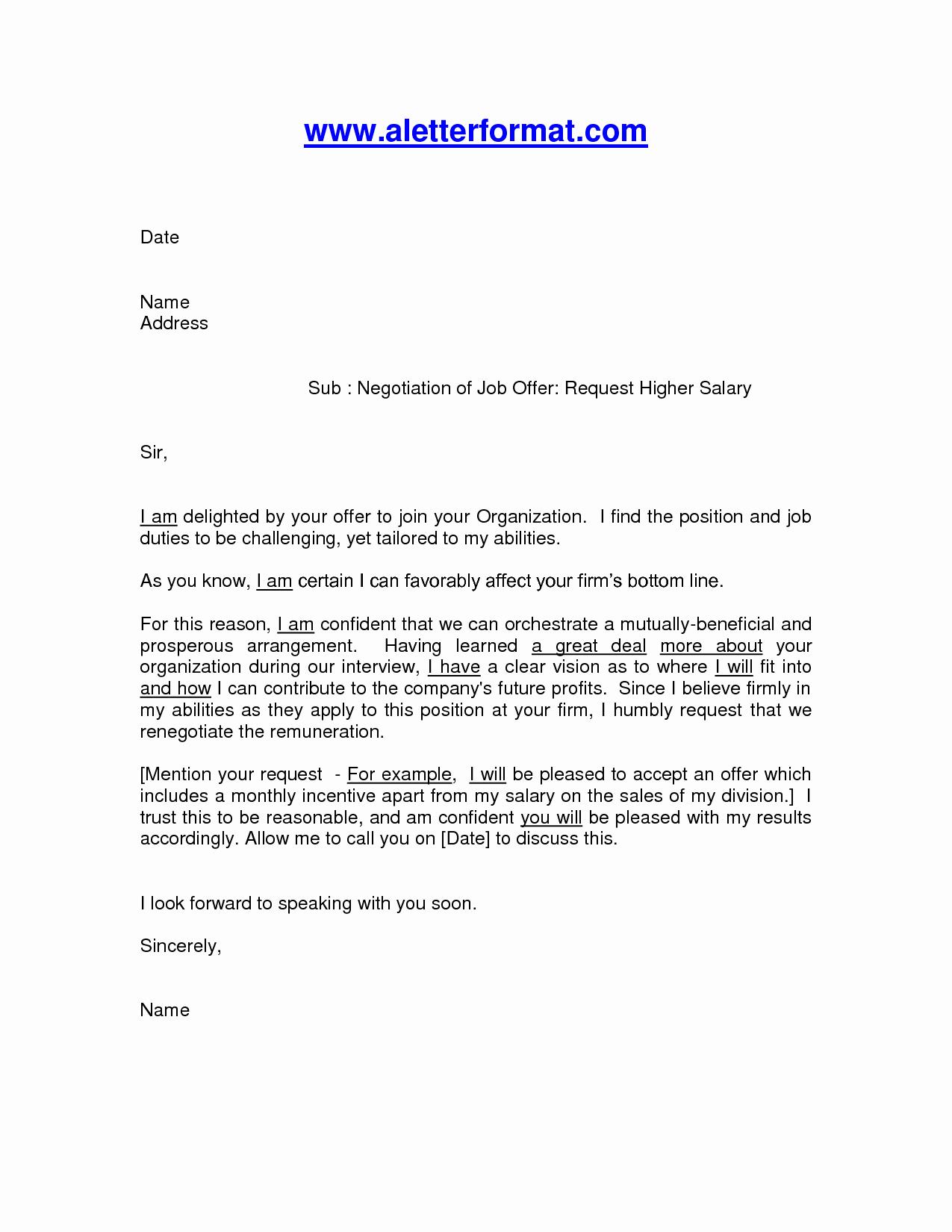 Salary Counter Offer Letter Elegant Salary Negotiation Letter