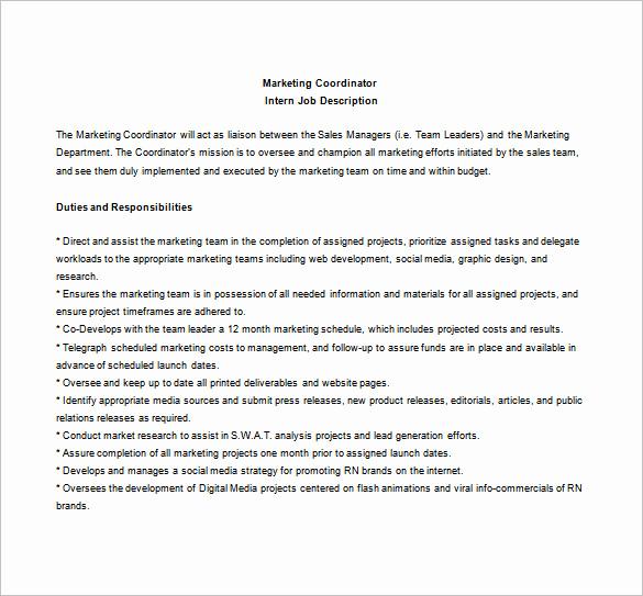Sales and Marketing Job Description Beautiful 10 Marketing Coordinator Job Description Templates