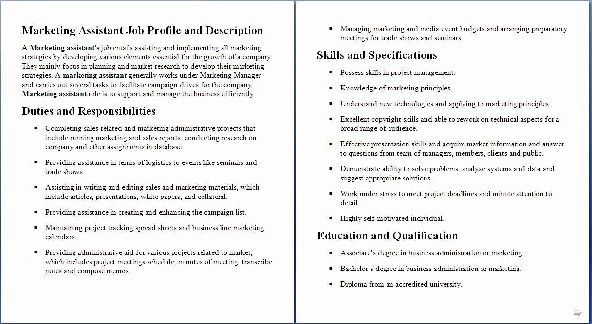 Sales and Marketing Job Description Beautiful Marketing assistant Job Description Samples