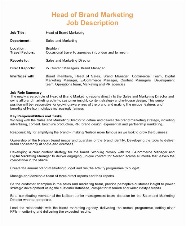 Sales and Marketing Job Description Beautiful Sample Marketing Manager Job Description 9 Examples In Pdf