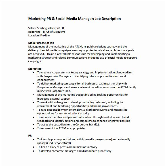 Sales and Marketing Job Description Best Of 13 Marketing Manager Job Description Templates Free
