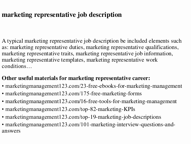Sales and Marketing Job Description Fresh Marketing Representative Job Description