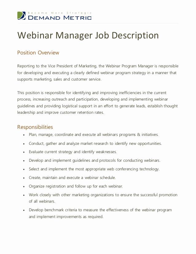 Sales and Marketing Job Description Fresh Webinar Program Manager Job Description