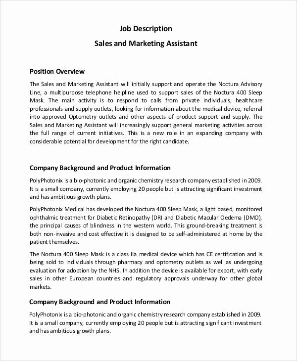 Sales and Marketing Job Description Inspirational Sample Marketing assistant Job Description 14 Examples