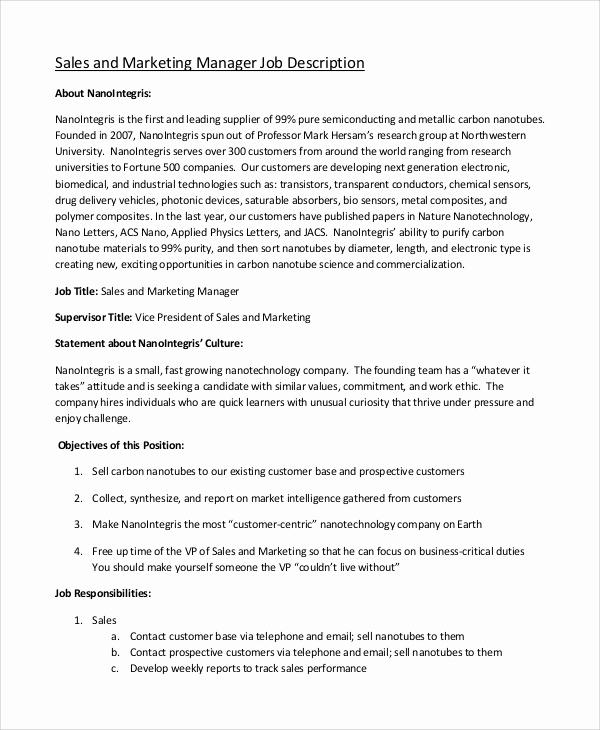 Sales and Marketing Job Description Luxury 9 Marketing Job Description Samples
