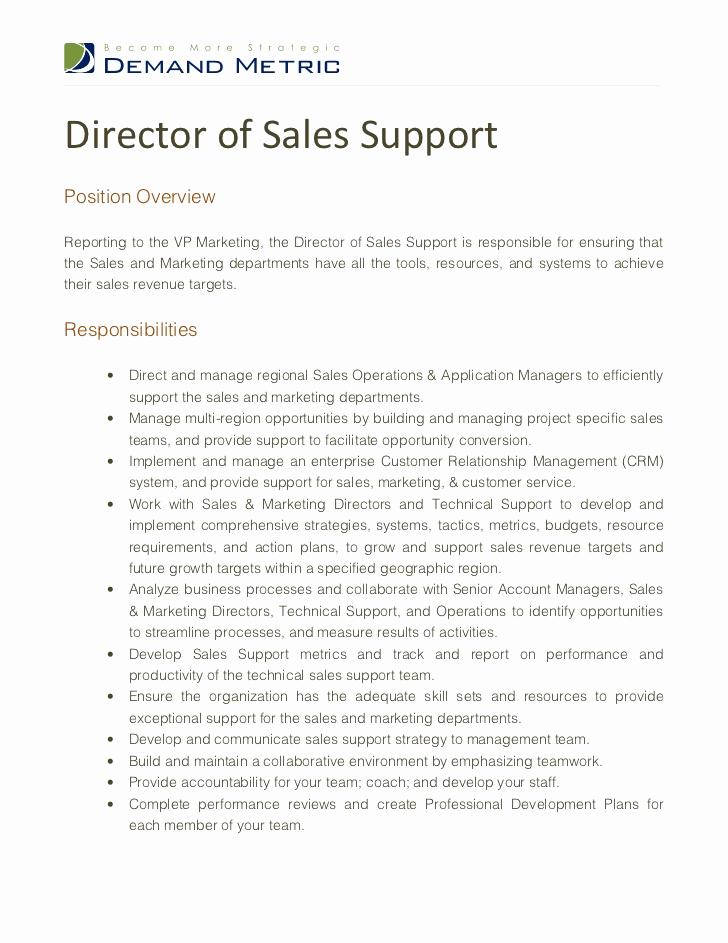 Sales and Marketing Job Description Luxury Director Of Sales Support Job Description