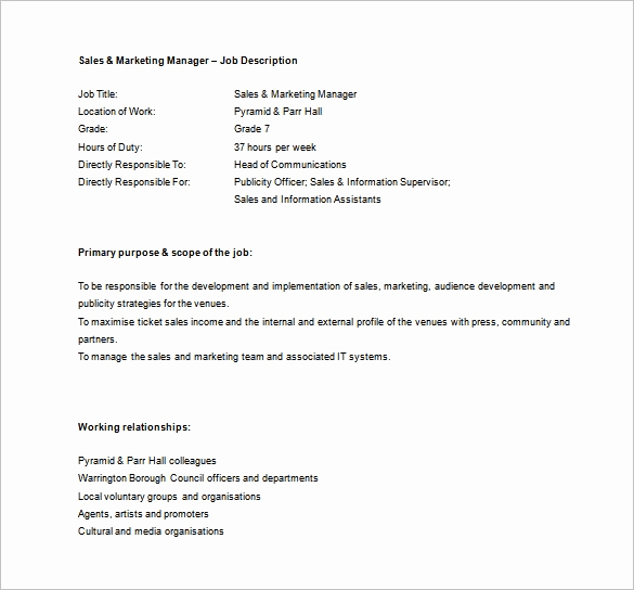 Sales and Marketing Job Description Luxury Sales Manager Job Description Template 11 Free Word
