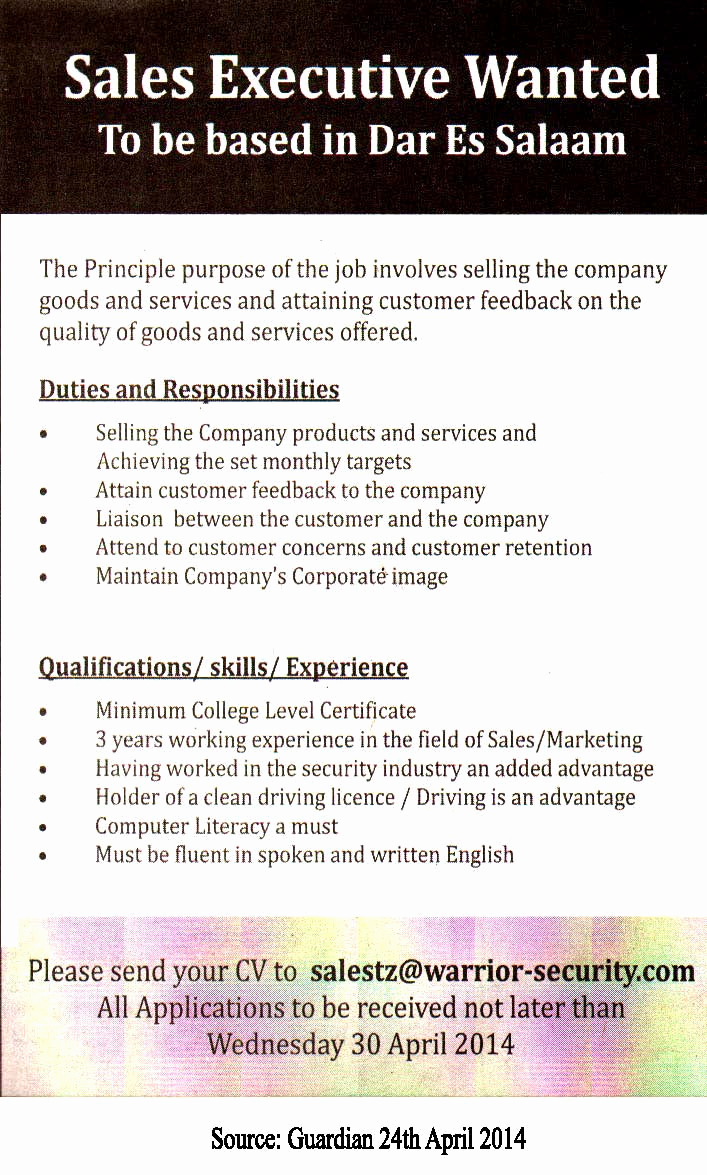 Sales and Marketing Job Description Unique Sales Executive