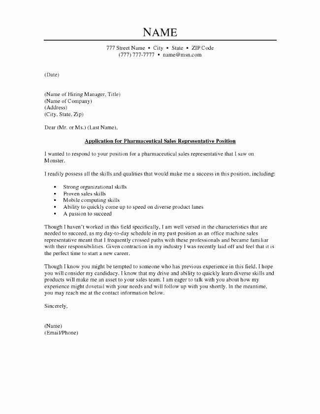 Sales Cover Letter Examples Inspirational Pharmaceutical Sales Cover Letter