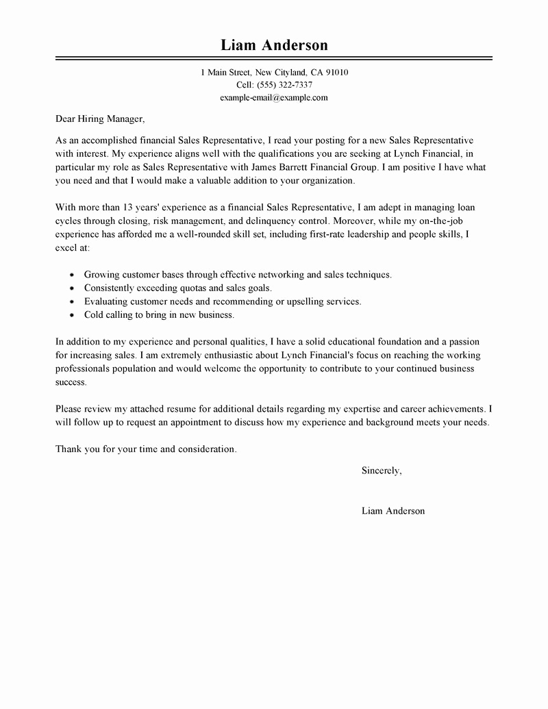 Sales Cover Letter Examples Lovely Sales Representative Cover Letter Examples