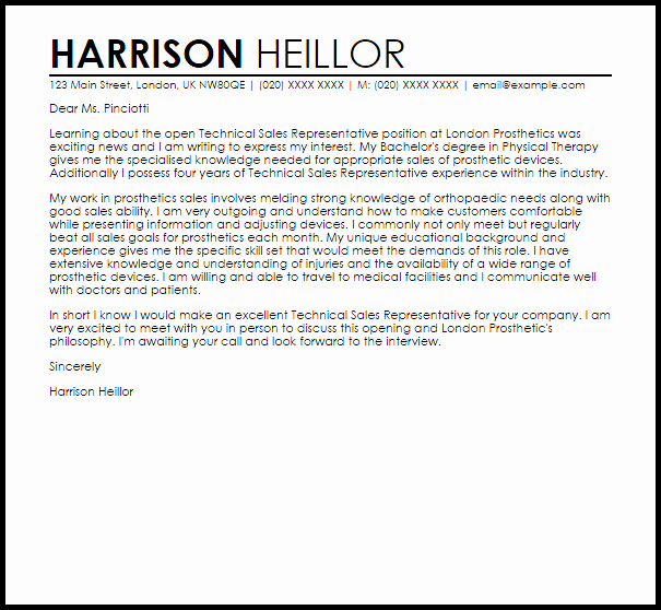 Sales Cover Letter Examples New Technical Sales Representative Cover Letter Sample