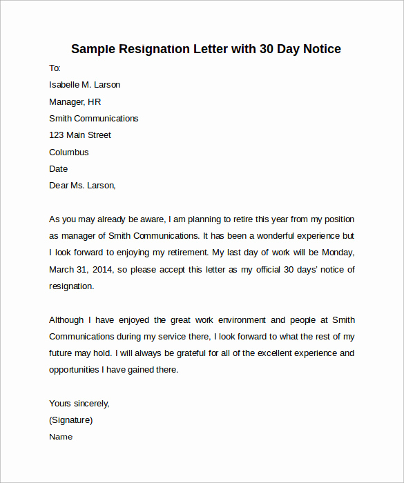 Sample 30 Day Notice Luxury Sample 30 Days Notice Letter 7 Free Documents In Word Pdf