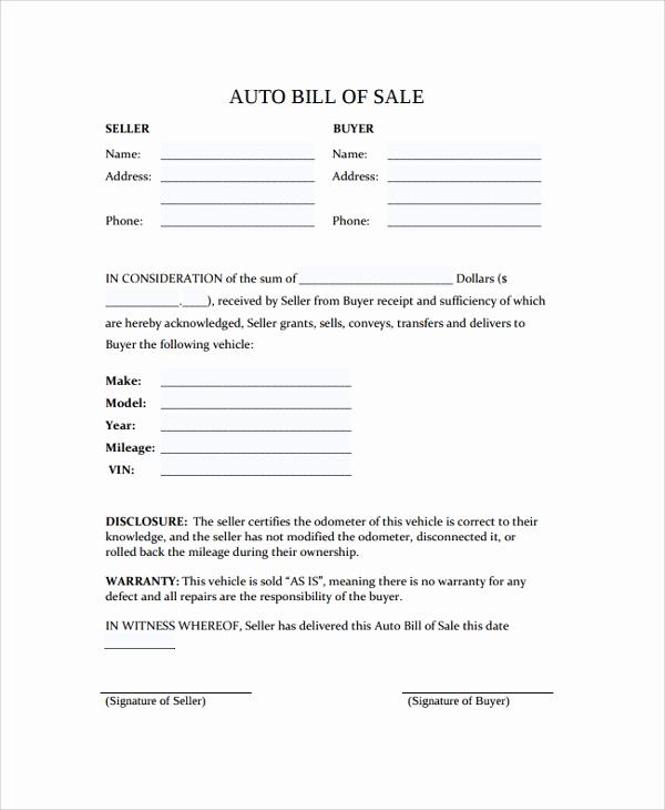 Sample Auto Bill Of Sale Fresh 8 Sample Bill Of Sales In Pdf