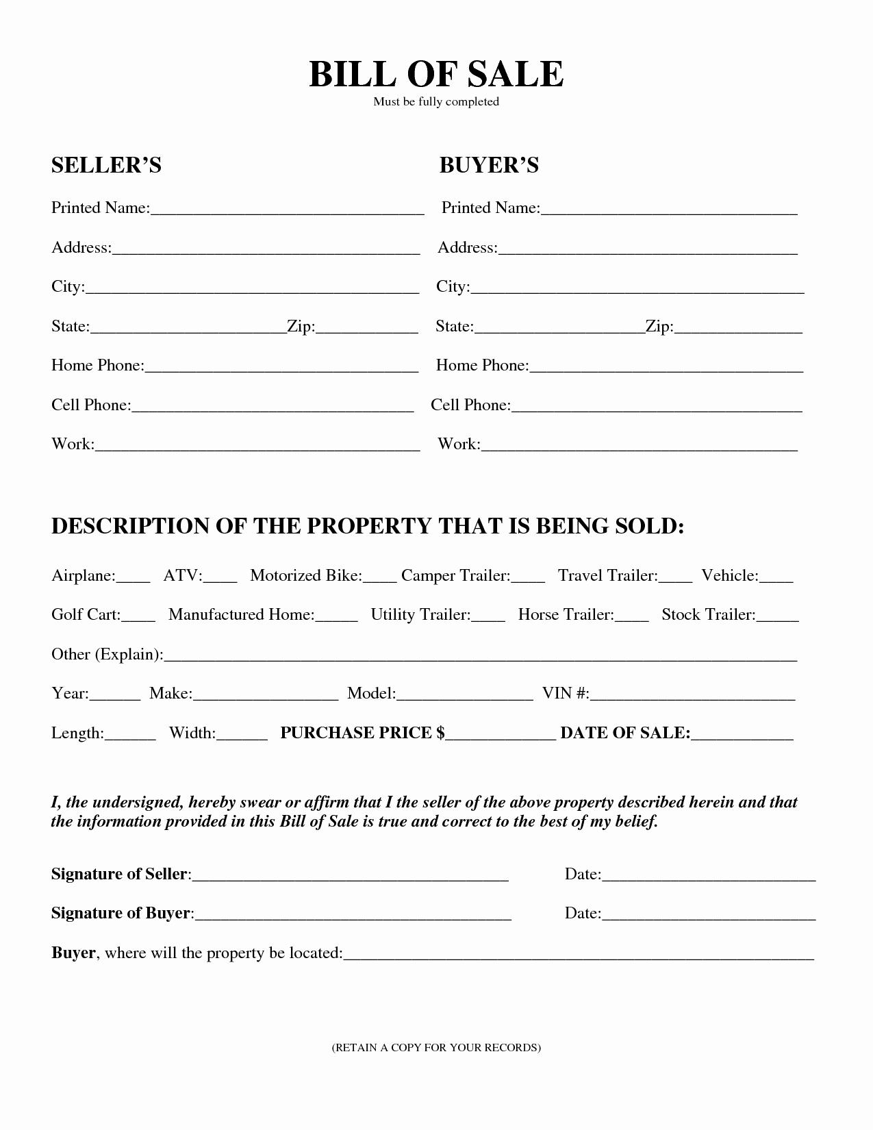 Sample Auto Bill Of Sale Luxury Printable Sample Equipment Bill Sale Template form