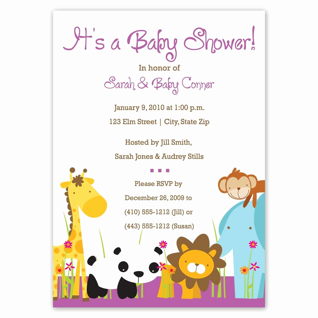 Sample Baby Shower Invitations Fresh Baby Shower Invitations Zoo Animals Jungle by Littleedenstudio