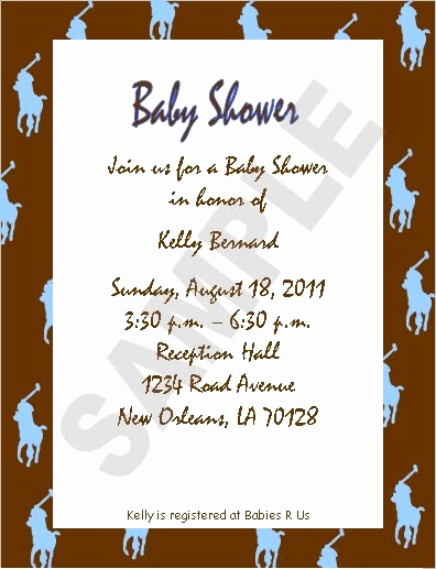 Sample Baby Shower Invitations Luxury solutions event Design by Kelly Polo theme Baby Shower