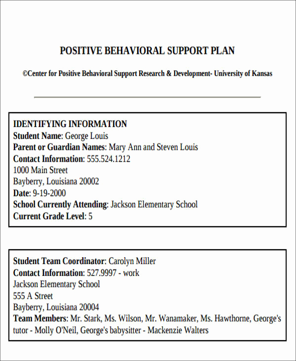 Sample Behavior Intervention Plan Fresh 6 Behavior Intervention Plan Examples