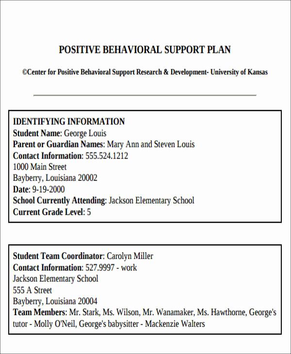 Sample Behavior Intervention Plan Fresh 6 Behavior Intervention Plan Examples