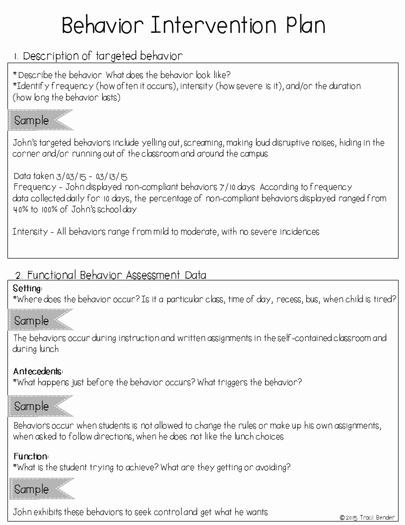 Sample Behavior Intervention Plan Fresh the Bender Bunch Creating A Behavior Intervention Plan Bip
