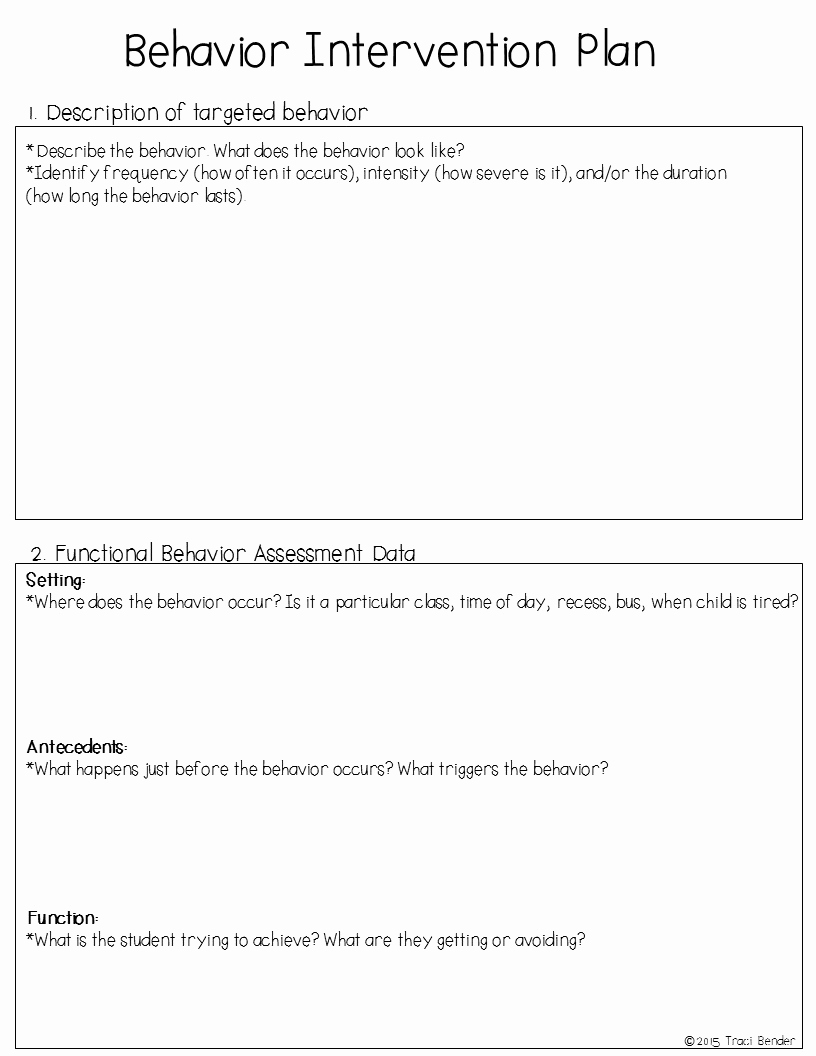 Sample Behavior Intervention Plan Inspirational the Bender Bunch Creating A Behavior Intervention Plan Bip