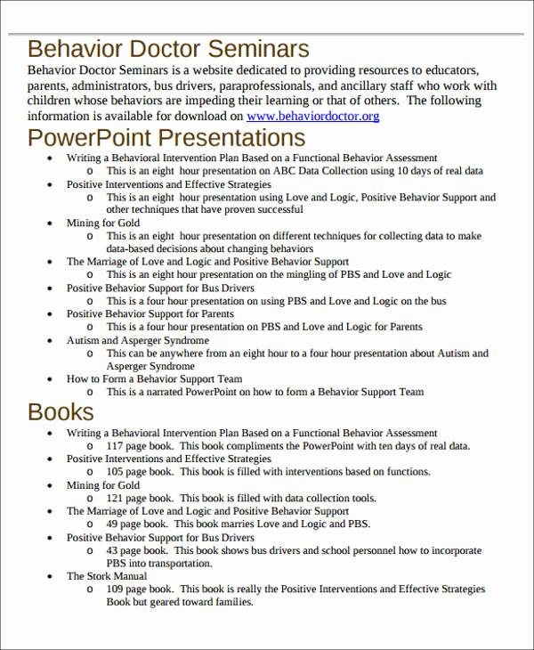 Sample Behavior Intervention Plan Unique 6 Behavior Intervention Plan Examples