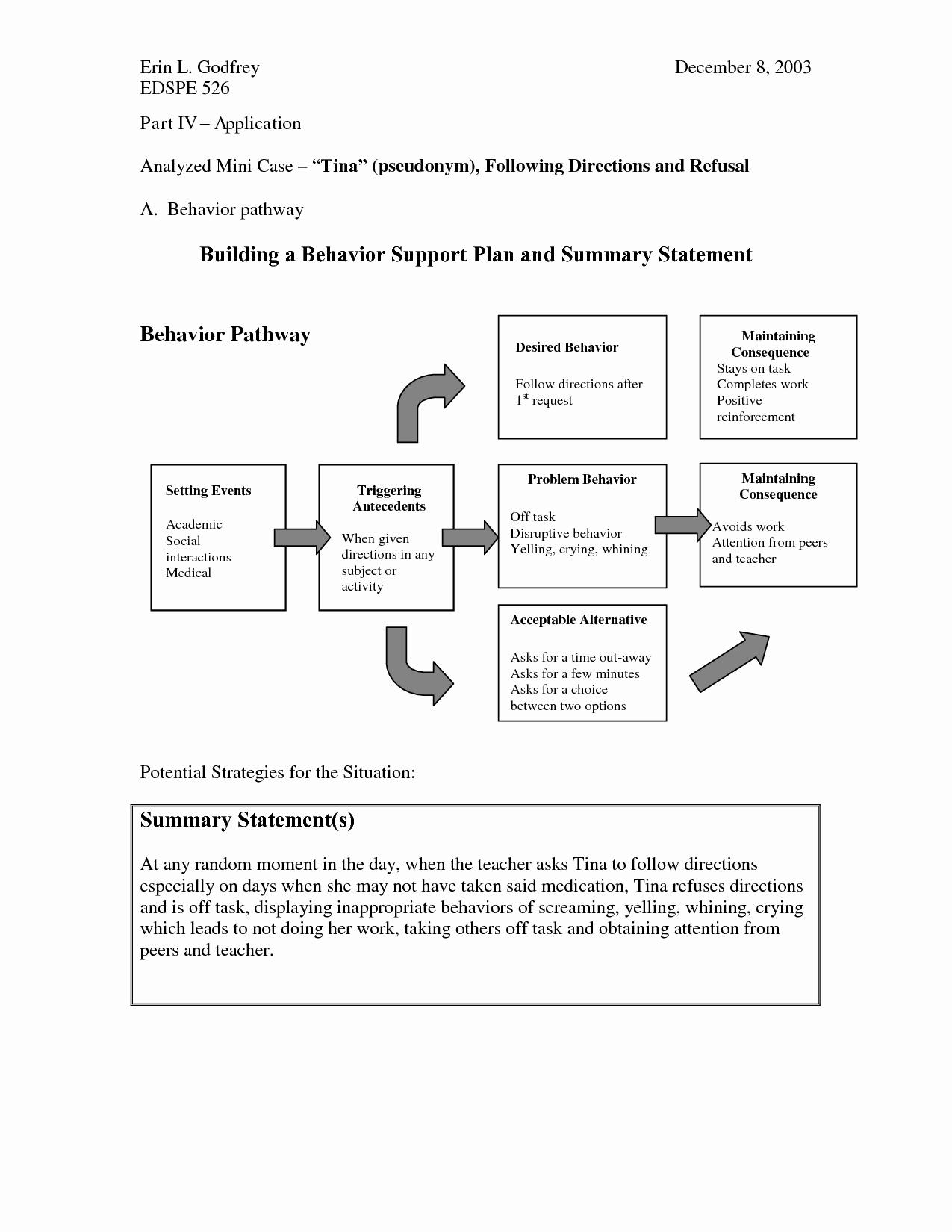Sample Behavior Intervention Plan Unique Positive Behavior Support Plan