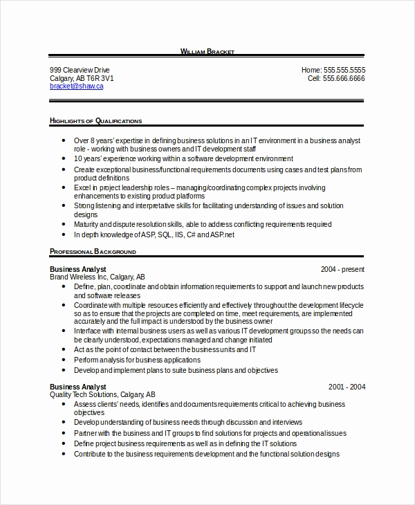 Sample Business Analyst Resume Beautiful 28 Free Resume Templates Pdf Doc