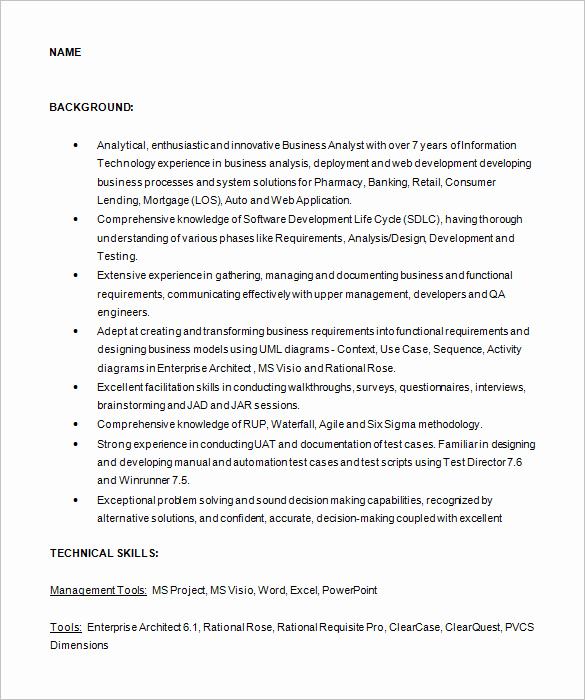 Sample Business Analyst Resume Best Of Business Analyst Resume Template – 15 Free Samples