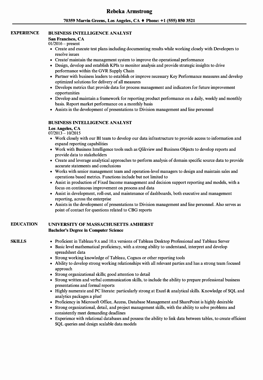 Sample Business Analyst Resume Best Of Business Intelligence Analyst Resume Samples
