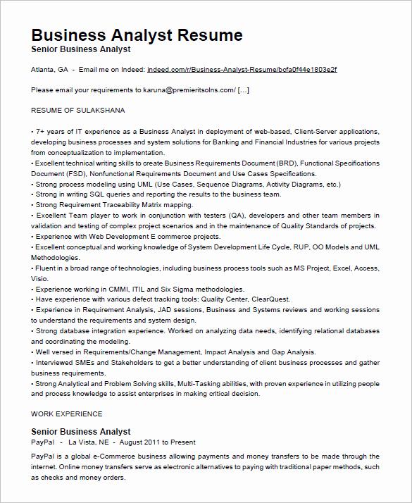 Sample Business Analyst Resume Elegant Business Analyst Resume Template – 15 Free Samples