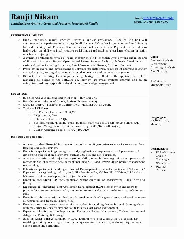Sample Business Analyst Resume Fresh Business Analyst Resume