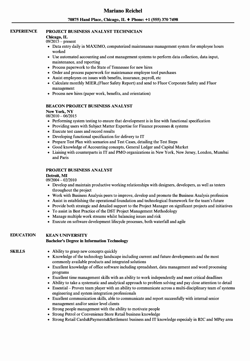 Sample Business Analyst Resume Inspirational Project Business Analyst Resume Samples