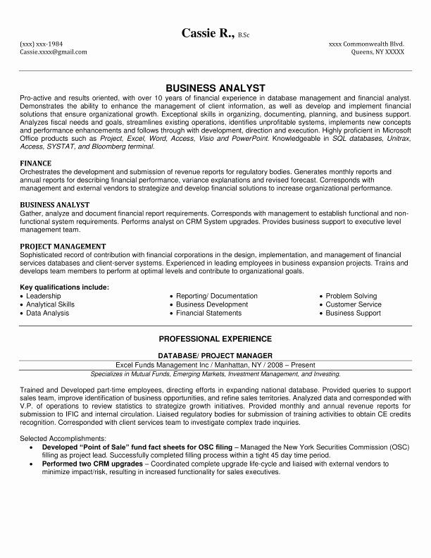 Sample Business Analyst Resume Luxury 10 Business Analyst Resume Sample Samplebusinessresume
