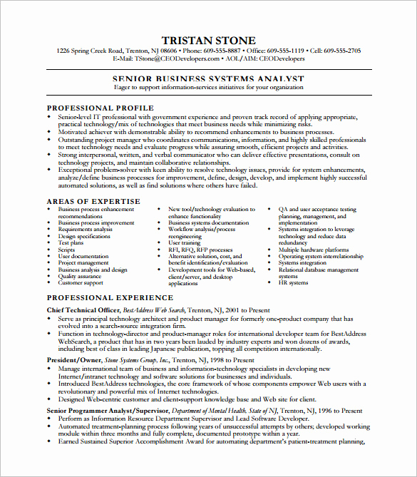 Sample Business Analyst Resume New Business Analyst Resume Template – 11 Free Word Excel