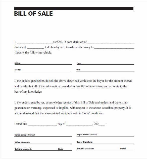 Sample Car Bill Of Sale Elegant 8 Auto Bill Of Sale Doc Pdf