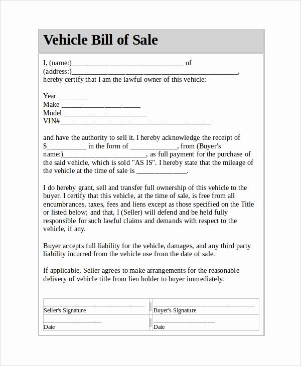 Sample Car Bill Of Sale Elegant Sample Vehicle Bill Of Sale 7 Documents In Pdf Word