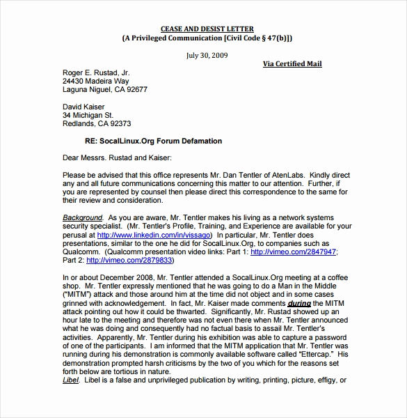 Sample Cease and Desist Letter Awesome Cease and Desist Letter Template 16 Free Sample Example