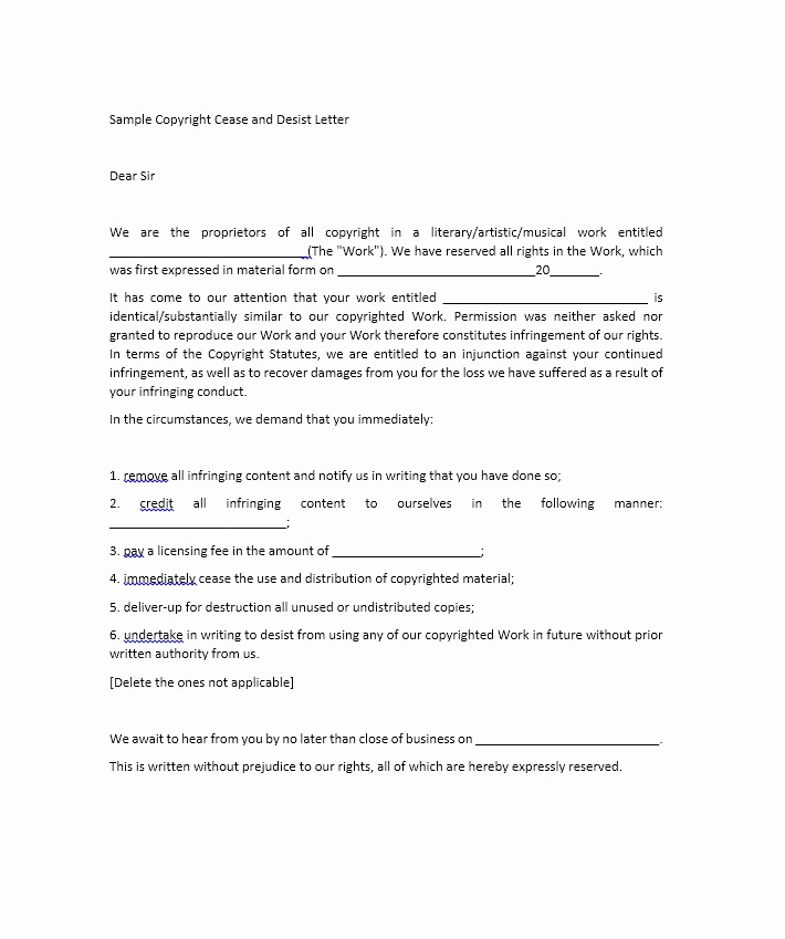 Sample Cease and Desist Letter Beautiful 30 Cease and Desist Letter Templates [free] Template Lab