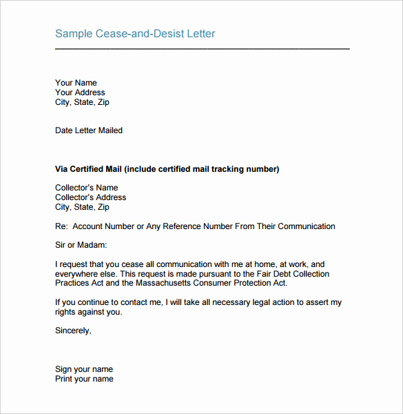 Sample Cease and Desist Letter Beautiful Cease and Desist Letter Template 16 Free Sample Example
