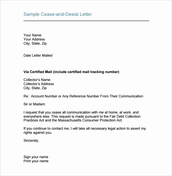 Sample Cease and Desist Letter Luxury Cease and Desist Template Beepmunk